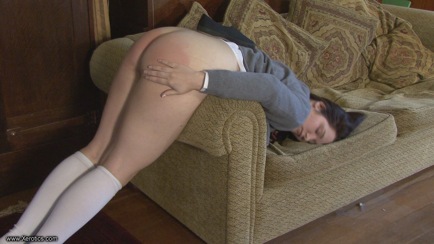 spanked bare butt